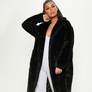 Zara Black Faux Fur Trench Coat Jacket